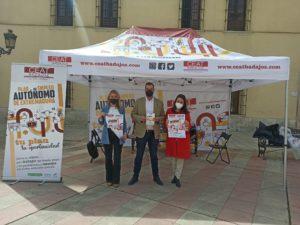 CEAT Badajoz visitó Badajoz con su carpa informativa de difusión del Plan del Empleo Autónomo de Extremadura